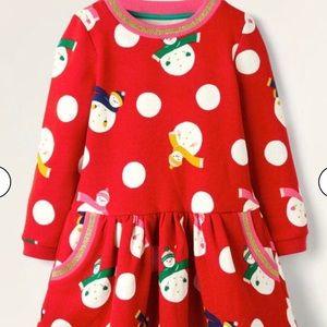 NWT mini boden Snowman Sweatshirt Dress